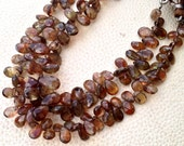 Brand new, Full 8 Inch Long Strand, Gorgeous Quality ANDULASITE Faceted Pear Shaped Briolettes, 8-9mm Long size,GORGEOUS