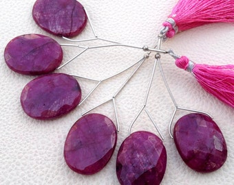 25-30mm Oval,New Arrival, 2 Pieces Set. Dyed Natural RUBY Faceted Oval Shape briolettes,Finest Item