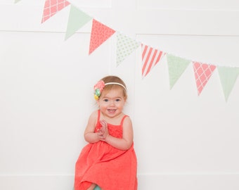 Fabric Banner, Bunting, Garland Fabric Pennant Flags, Mint, Coral, Wedding Garland, Photo Prop, Baby Nursery , Wedding Garland, Shower