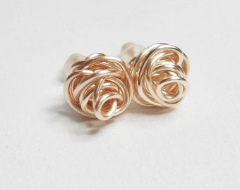 Rose Gold Love Knot Studs Rose Gold Jewelry Women's Handmade Jewelry Silver Love Knot Stud Gold Love Knot Stud