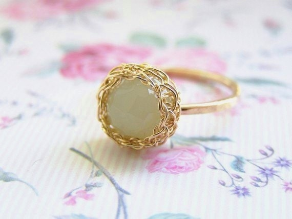 Green Jade Ring, Stacking Ring, Mint Green Ring, Jade Gold Ring, Thin Gold Ring, Green Gemstone Ring, Wire Crochet Ring