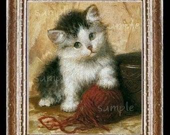 Kitten Miniature Dollhouse Cat Art Picture 1629