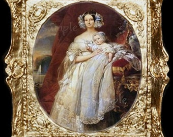 Mother Holding Baby Miniature Dollhouse Art Picture 6812