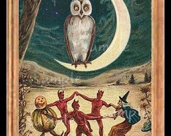 Halloween Owl Miniature Dollhouse Art Picture 6123