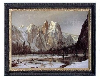 Snow Covered Mountains Miniature Dollhouse Art Picture 6730