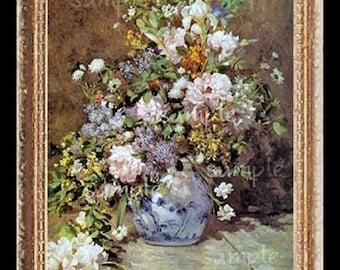 1800's Floral Miniature Dollhouse Art Picture 1907