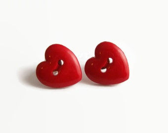 Heart Button Earrings, Stud Heart Earrings, Red Heart Earrings, Heart Post Earrings, Plastic Red Hearts, I Love You