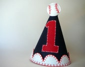 Boy's Birthday Party Hat--Navy with Baseball--Ready to Ship!