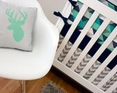Mint and Navy Crib Bedding, Cribset, Custom Baby Bedding, Navy Blue, Mint Green, Turquoise, Gray Triangle Deer Antler Nursery Set