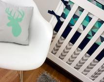 Mint and Navy Crib Bedding, Nursery Crib set, Custom Baby Bedding, Navy Blue, Mint Green, Turquoise, Gray Triangle Deer Antler Nursery Set