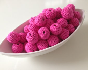 Candy Pink Organic Crocheted Beads 12 Pieces