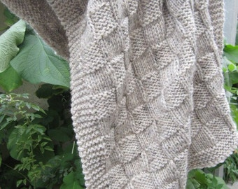 Wool, hand knit,Throw, baby blanket (oatmeal-tweed grey color)