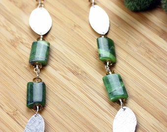 Green Jasper & Textured Sterling Silver necklace