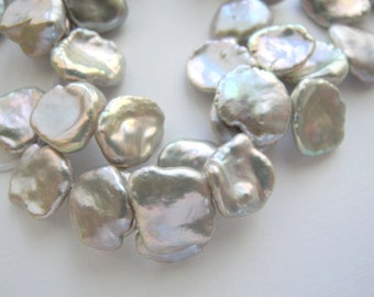 Freshwater Keishi Pearls in Silver Grey Gray Keshi Cornflake 13mm Half Strand