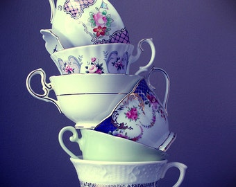 Tea cups photograph, Fine Art Photography, Vintage, Photograph, Alice in Wonderland, Shabby Chic, Mint, Purple, Cups, Fairy Tale, Decor