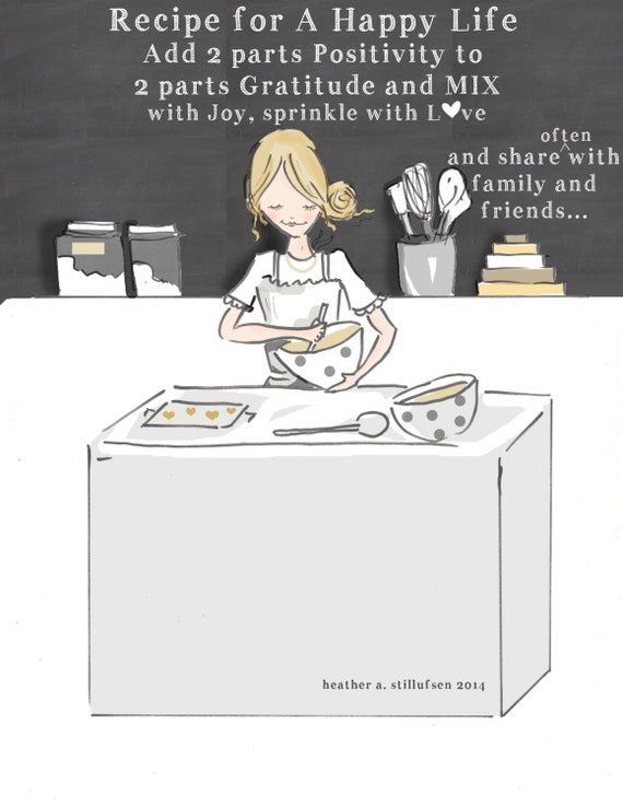 a recipe for a happy life nspirational art for women
