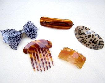 Vintage hair accessories 5 animal print hair comb hair barrette hair pin hair slide hair clip hair jewelry hair ornament headdress