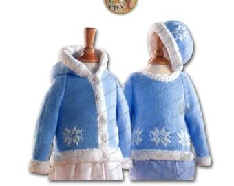 Snowflake Hoodie, Crewneck Sweater, & Hat for Children 0-6 Years - Vintage Digital Knitting Pattern - Instant Download