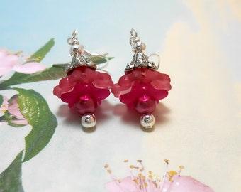Dark Pink Lucite Flower Earrings - Clearance