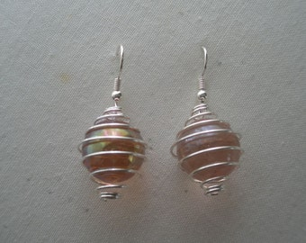 Pink Florescent Marble Earrings in Silver Tone Cage