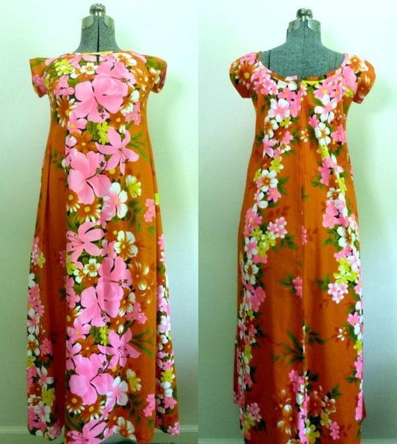 Hawaiian Maxi Dress Vintage 1970s Tropical Wedding Reef Hawaii