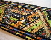 Halloween Table Runner Scrappy Bright Assortment Quilted Handmade