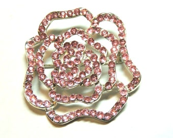Pink Rhinestone Brooch Flower Pin Vintage Jewelry