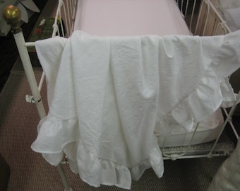 Washed Linen Toddler Size Long Ruffled Coverlet-36x54 Ruffled Coverlet in Washed Linen-Lightweight Linen Throw
