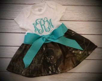 Camo and Turquois Dress, Camo baby dress, personalized dress