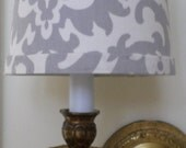 Chandelier Shade in a new Waverly iconic design fabric in dove gray.
