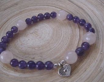 Beaded Charm Bracelet, Silver Heart Charm Bracelet, Yoga Bracelet with Amethyst and Rose Quartz Beads,Mala Bracelets