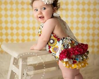 Burgundy, mustard yellow, and cream flower polka dot ruffle bloomers diaper cover romper sunsuit baby newborn infant toddler girl