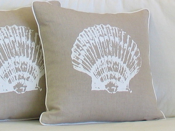 Hand Printed Sea Shell on Natural Linen Decorative Pillow for Your  Coastal Beach House Decor