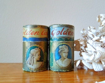 Vintage Match Boxes, Tubular Shape, Cameo Brand Gold Tipped Matches, On Sale