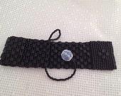 Matte Black Miyuki Bead Peyote Cuff Style Bracelet