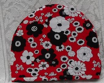 Mod Tea Cozy Black, Red, White Flowers Chocolate Cozy