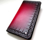 Mens Leather Wallet Red Tooled Leather Wallet Can Be Personalized Monogrammed