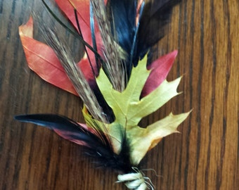 All Natural Harvest Moon Boutonniere Corsage -READY TO SHIP fall autumn rustic wedding boutonniere wheat oak leaves black orange yellow