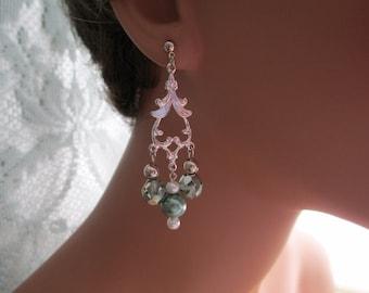 Mint Green Pearl Chandelier Earrings Crystals Silver Drop Long Dangle