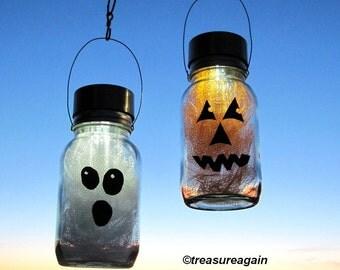 Solar Halloween Mason Jar Lights Pumpkin Ghost Halloween Decor, 2 Hanging Outdoor Lights, Fall Decor, Autumn Garden Outdoor Decoration