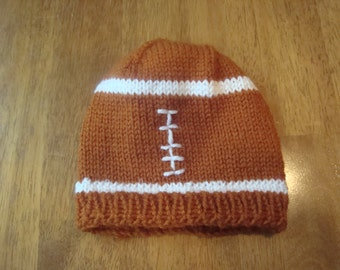 University of Texas baby football hat, white and burnt orange