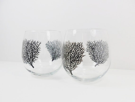 Wine Glasses Stemless Black Coral Hand Painted Set of 2