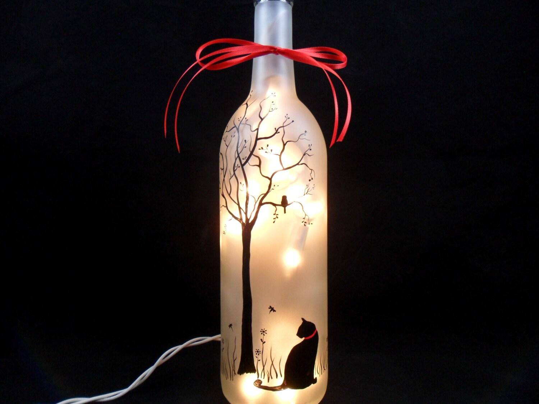 Lighted wine bottle black cat hand painted wine bottle light for Decor 750ml