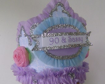 90th Birthday Party hat, 90th birthday party crown, Adult Birthday Party Crown, lavander birthday party, customize