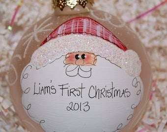 "santa christmas ornament hand painted glass 4"" round frosted ball"