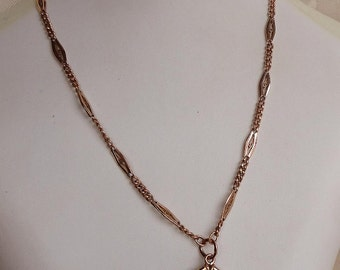 My Love Stamp Victorian Agate Cornaline & Gold Plated Fob Chain Necklace.