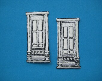2 pcs Iron-on Embroidered Patch DOOR 2.1 inch