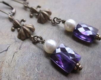 purple pearl dangle - the ione earrings