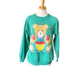 10 Dollar Sale Vintage 90s Harvest Autumn Teddy Bear Sweatshirt - novelty, green, Hanes Sport - Women M