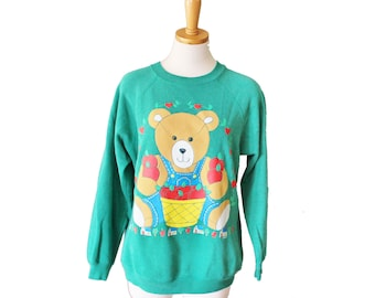 10 Dollar Sale Vintage 90s Harvest Autumn Teddy Bear Sweatshirt - novelty, green, Hanes Sport - Women M